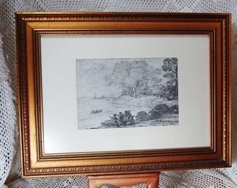Vintage Print Framed