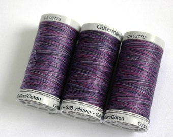 Variegated cotton thread, Gutermann variegated Sulky cotton, multicoloured sewing and embroidery thread, Shade 4033
