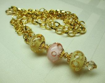 Bubble Lampwork Bead Necklace in Pastels