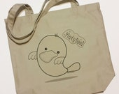 Platypus Ghost tote - Organic Tote Bag - PlatyBoo the Platypus Ghost shopping bag - book bag