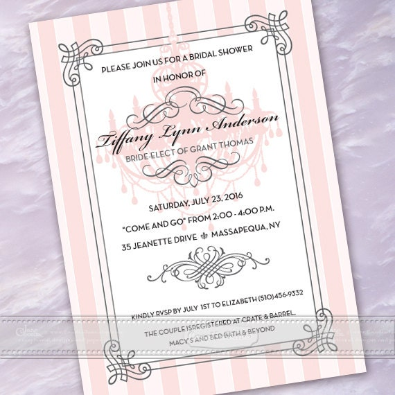 bridal shower invitations, rose quartz bridal shower invitations, baby shower invitations, classy birthday invitations, IN487