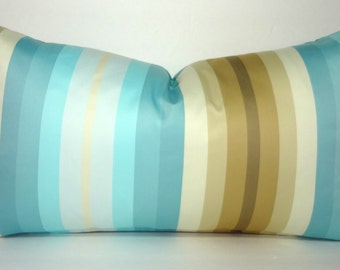 Beautiful Ivory Blue Brown Stripe Lumbar Pillow Cover Decorative Throw Pillow Cover 12x20