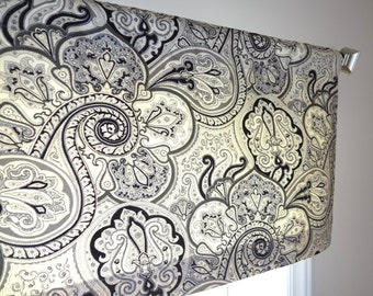 Waverly Paddock Shawl Onyx Curtain Valance Topper Window Valance 52x15 Black Grey Ivory Paisley Valance