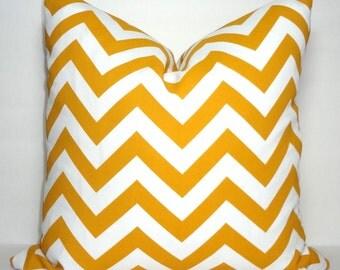 OUTDOOR Pillow Zig Zag Golden Rod Yellow & White Chevron Pillow Cover Deck Patio Pillow Cover 18x18