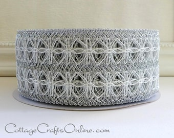 "Wired Ribbon, 2 1/2"" Silver Metallic Lace Net - THREE YARDS - Offray ""Omnify"" Christmas, Pewter Grey Mesh Craft Wire Edged Ribbon"