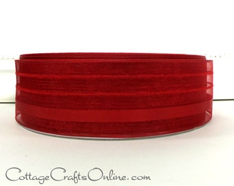 """Wired Ribbon, 11/2"""" wide,  Red Striped Semi-Sheer - FIFTY YARD ROLL - Offray """"Kempton Red"""", Valentine, Christmas Wire Edged Ribbon"""