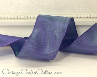 "Wired Ribbon, 1 1/2"" wide, Lavender Iridescent Taffeta - TEN YARD ROLL -  ""Lyon""  Purple Wedding, Floral Craft Wire Edged Ribbon"