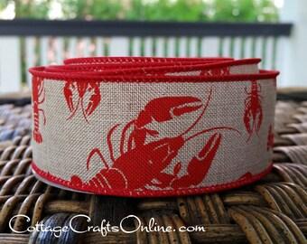 """Ruban, rouleau de 1-1/2"""" écrevisses rouges sur toile de lin Faux Tan - Cour dix - «Gumbo» l'été, Americana, Louisiane fil ruban bordé"""