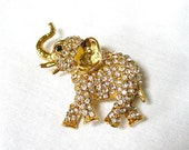 Vintage pave Rhinestone Elephant Brooch signed FP 0156 USA, trunk up, Excellent