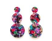 Fireworks Triple Drops -  Laser Cut Drop Earrings - Multi Coloured Confetti Glitter