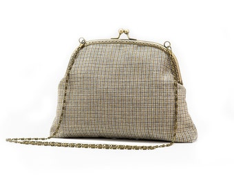 Clutch Purse - Vintage Style Purse - Evening Handbag - Woven Fabric - Antique Bronze Frame and Chain.