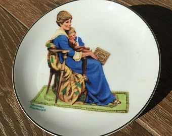 """1984 Norman Rockwell """"Bedtime"""" ceramic plate with box."""