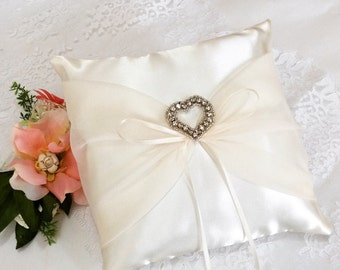 Ivory Ring Pillow with rhinestone heart,  Ivory square ring bearer pillow