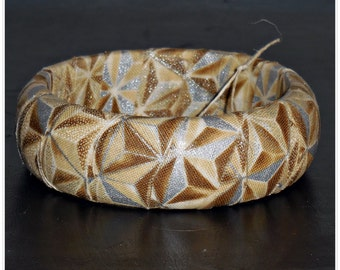 Ivory and Gold Stars Winter Metallic Fabric Bangle Wood Wooden Dome Bracelet