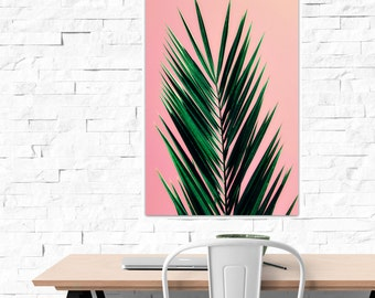 palm tree art // pink palm tree // modern colorful photography // botanical jungalow canvas art // Pink Palm, giclee photography on canvas