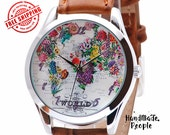 Flower Map Watch, World Map Vintage Style Watches for Women, Gifts for Girlfriend, Unique Womens Watches, Girlfriend Gift - Free Shipping