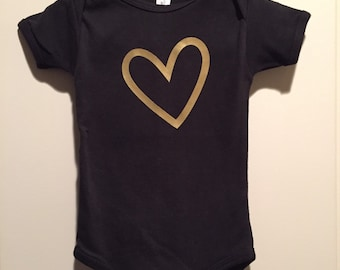 Gold heart with black onsie