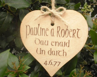 Rustic Wedding Sign Gift Welsh Personalised Painted Wood
