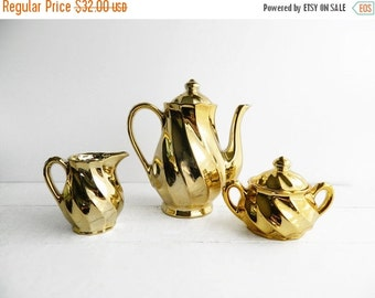 SALE Vintage Shiny Gold Swirl Tea Set - Porcelain Teapot Creamer and Sugar Bowl - Made in Japan