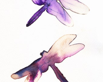 red pink and purple violet dragonflies original watercolour and ink painting