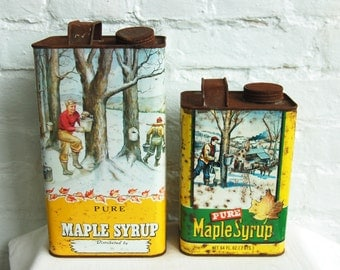 Vintage Maple Syrup Tin Container Bottles New England Set Metal Advertising Primitive Kitchen Decor 1 Gallon 2 Quarts