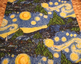 """14"""" x 14"""" PILLOW COVER - Starry Night Van Gogh-inspired Garden Landscape of Happiness and Color"""