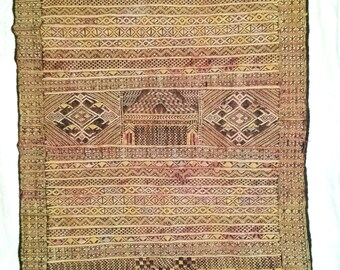 Islamic Moroccan Rug , Cotton Flat Weave 1940's, Muli-color