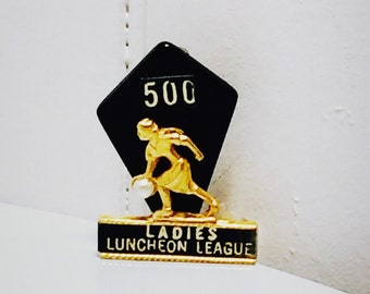 Vintage 1960s Ladies Luncheon Bowling 500 League Brooch/Pin