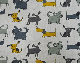 Linen Fabric with Colorful Dogs, 50x150 cm (19,7 x 59 inch), Eco Friendly