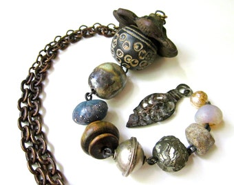That Long Walk to the Light -primitive long industrial assemblage indigo ceramic art bead, vintage African bead, wood, pearl, metal necklace