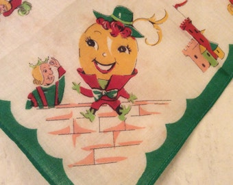 Vintage Collectible Nursery Rhyme Humpty Dumpty Children's  Handkerchief, Vintage Child Hankie, Vintage Egg on Wall Handkerchief