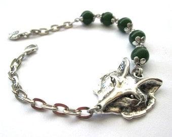 Silver fox bracelet dark green stone bracelet fox jewelry