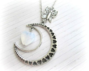 Silver half moon necklace jewelry crescent moon pendant necklace with butterfly