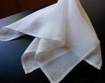 Antique French Hankie Monogram Ladies White Handkerchief from Paris 1911