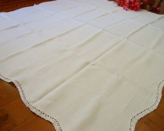 Ivory Linen Tablecloth Crochet Trim Vintage Table Cloth Table Cover