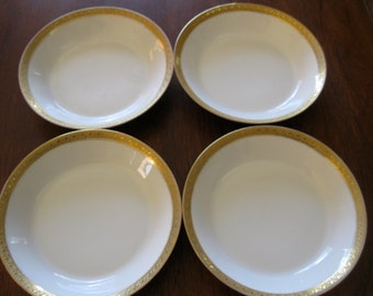 Parmelee Dohrmann Limoges GDA France 4 Bowls Gold Trim