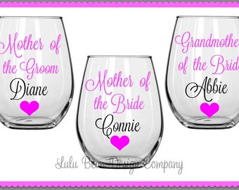 1 Mother of the Bride/Groom Stemless Wine Glasses Personalized Wedding Gift