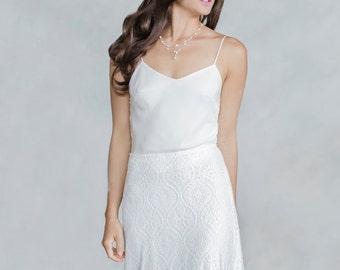 Silk top, Camisole, V neckline, Separates, Bridal separates, Wedding separates, Bridal, Wedding top, Wedding skirt, Bias cut top, Simple