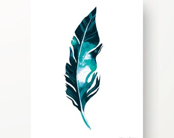 Teal Feather Print