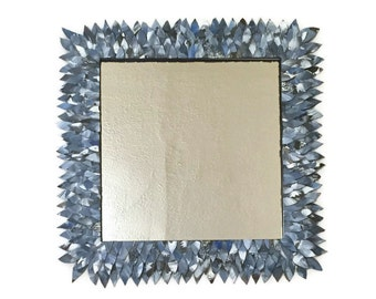 Blue Leather mirror, Blue Bathroom Mirror, Vanity Mirror, Decorative Mirror, grey Mirror, Hanging Mirror, decorative wall mirror