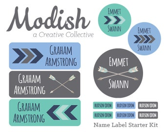 FAST SHIPPING!  Boy Name Labels, School Pack, Daycare Pack, Camp Pack, Starter Pack, Waterproof, Dishwasher Safe, Clothing Tags, Tribal