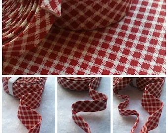"3 or 6 Yards  1/2"" Double Fold  Red Plaid Bias Tape /6 Yards 1"" Single Fold Bias Binding Tape"