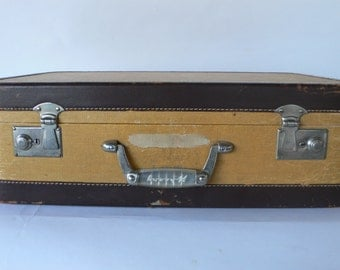 vintage Wheary luggage, suitcase, tweed and leather trim, from Diz has Neat Stuff