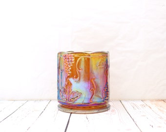 Iridescent Carnival Glass Vase, Grapevine Carnival Glass, Marigold Carnival Glass Vase, Iridescent Carnival Glass Planter, Marigold Vase