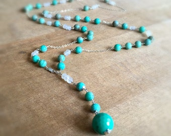 Chrysoprase Necklace - Green Gemstone Jewelry - Rosary - Sterling Silver Chain Jewellery - Moonstone - Beaded - Fashion