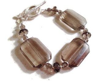 Smoky Quartz Bracelet - Brown Jewelry - Sterling Silver Bee Charm - Gemstone Jewellery - Chunky - Fashion