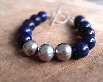 Lapis Bracelet - Navy Blue Jewelry - Sterling Silver Jewellery - Gemstone - Beaded - Chunky
