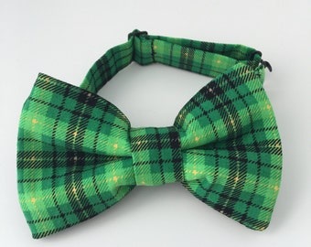 St. Patrick's Day Green and Gold Plaid Baby and Toddler Boys Bow Tie