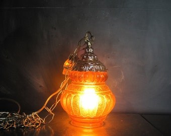 Small Vintage Hanging Amber Glass Swag Lamp NOS