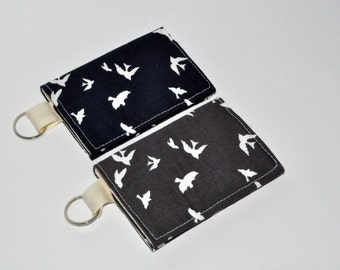 Business Card Case - Sparrows Pattern Fabric Keychain Wallet - Gift Card Sleeve - Business Card Holder  - Gift for Her